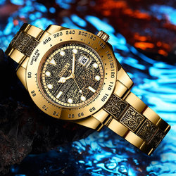 Brand ONOLA classic fashion luxury retro stainless steel men's watch high quality gold watches men