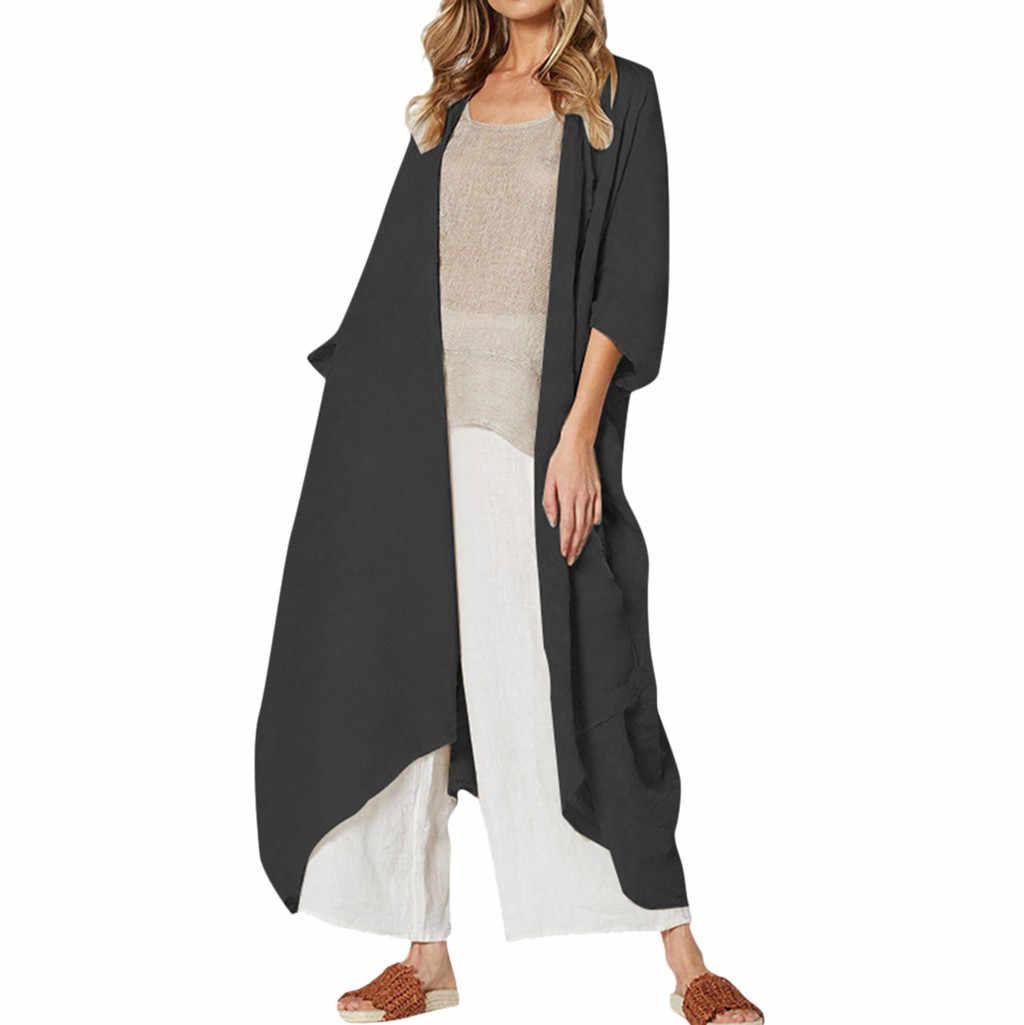 Klassische Frauen Plus Größe Bikini Strand Cover Up Lang Kimono Strickjacke Beachwear Jacke Mantel Herbst Casual Streetwear Outwear # W