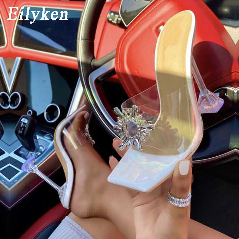 Eilyken PVC Transparent Crystal Sun Flowers Buckle Womens Slippers Summer Square Toe Ladies Strange High Heels Sandals Shoes