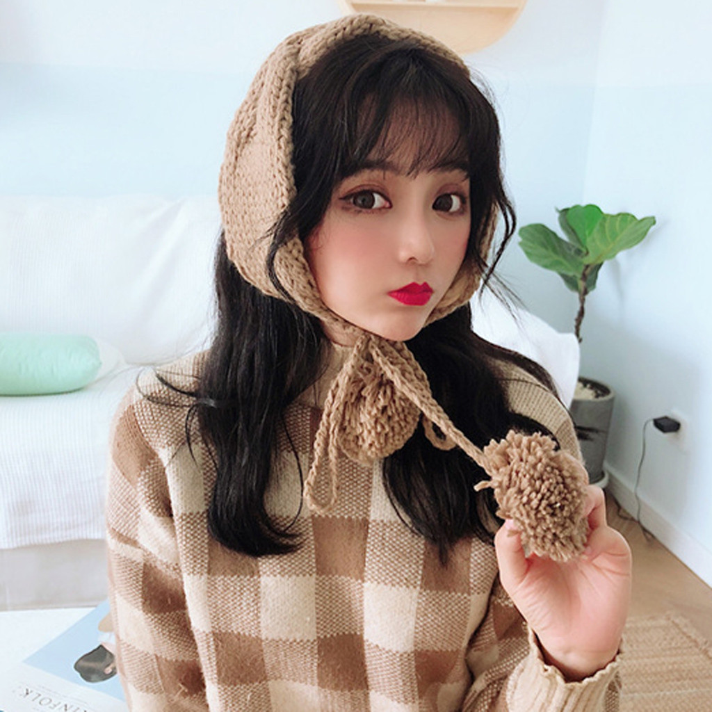Simple Solid 2 In 1 Scarf Earflap Winter Autumn Warm 2019 New Plush Ear Muffs Cute INS Fashion Warmer Earmuff Warm 30H