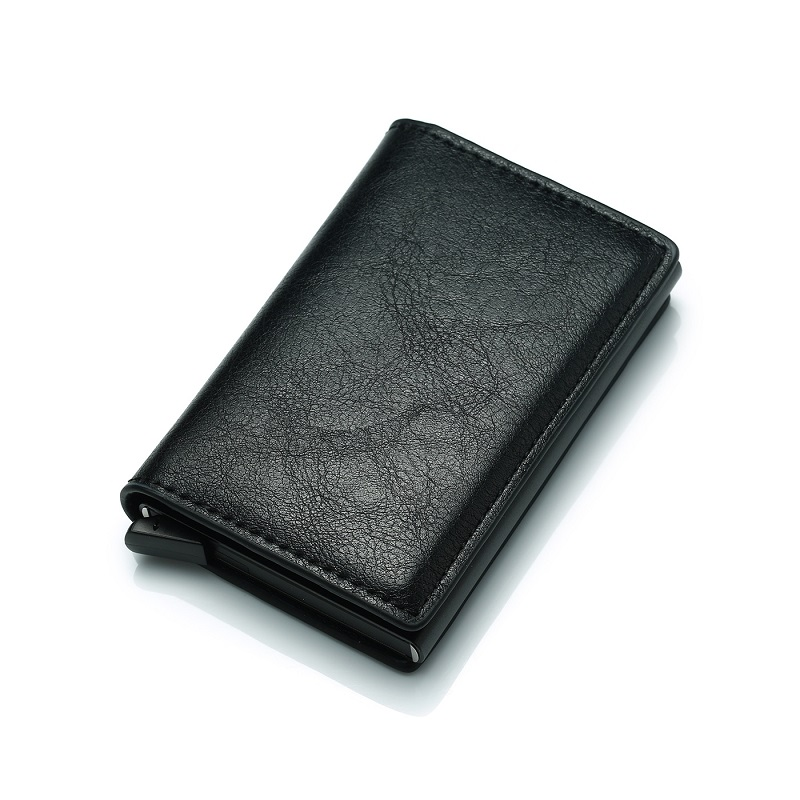 New Antitheft Men Vintage Credit Card Holder Blocking Rfid Wallet PU Leather Unisex Security Information Aluminum Purse