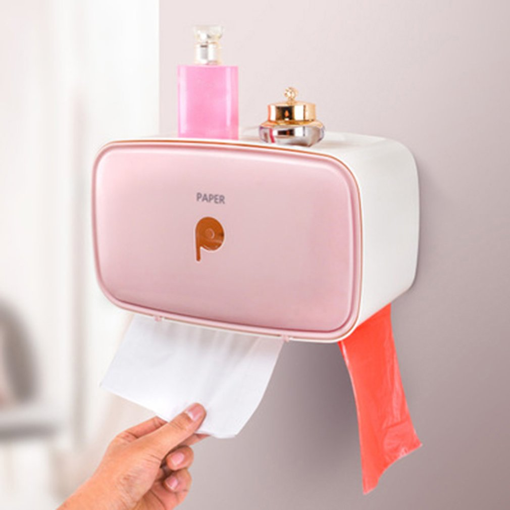 Creative Multi-Function Paper Phone Holder Waterproof Bathroom Toilet Roll Paper Holder, Free Punching