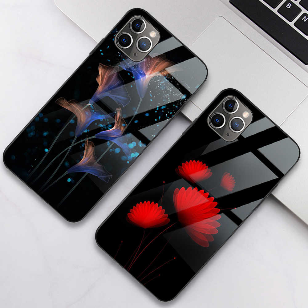 ciciber Plant Flower for iPhone 11 Pro Max Tempered Glass Phone Case for iPhone X XR XS MAX 7 8 6 6S Plus Funda Coque Shell Capa