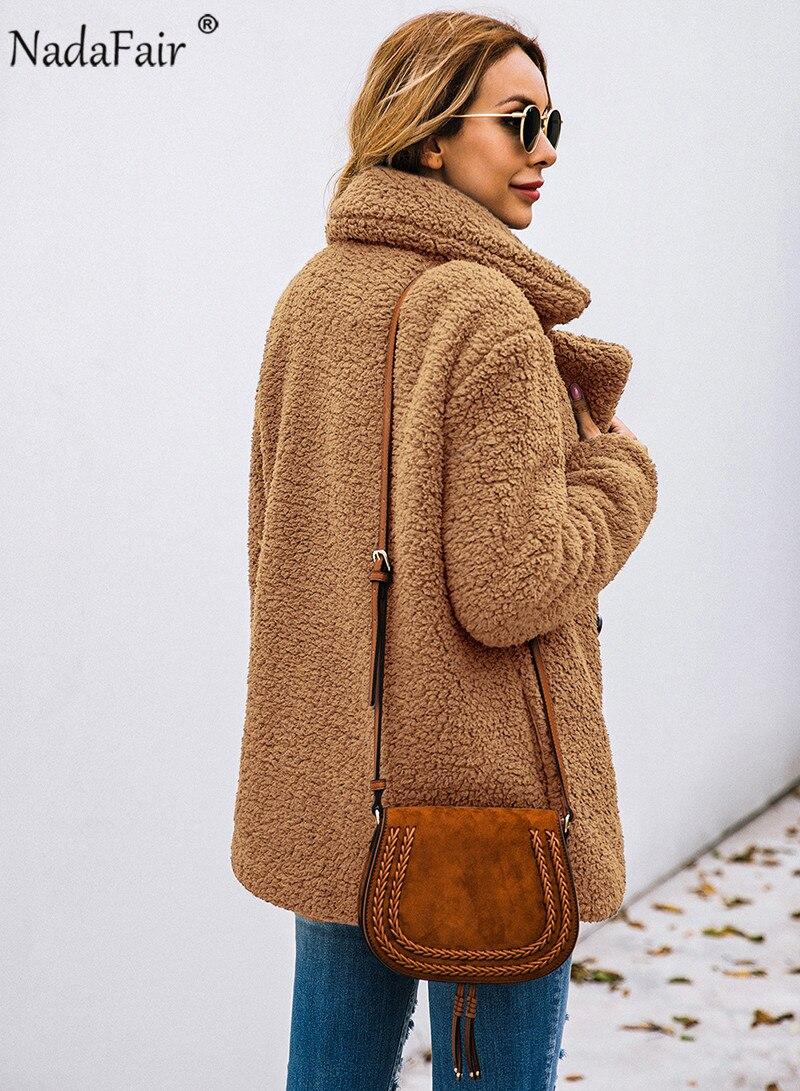 Nadafair plus size fleece faux fur jacket coat women winter pockets thicken teddy coat female plush overcoat casual outerwear 8