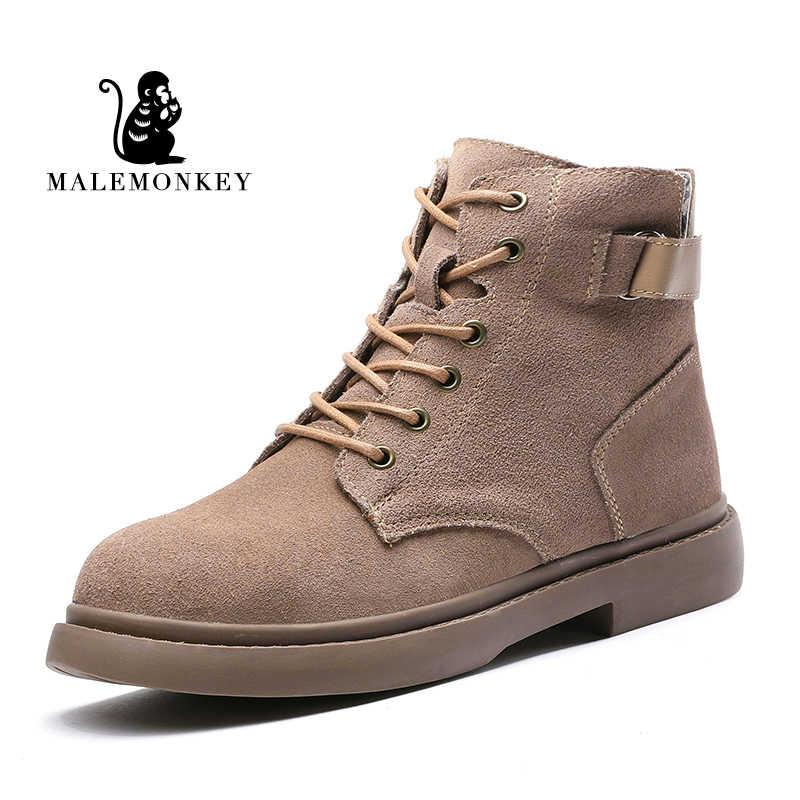 2019 ใหม่แฟชั่นรองเท้าผู้หญิงสีกากีลูกไม้สีดำหนังนิ่มสำหรับฤดูหนาวรองเท้าบู๊ตรองเท้าสบายๆรองเท้า Botas Mujer หญิงรองเท้าข้อเท้า