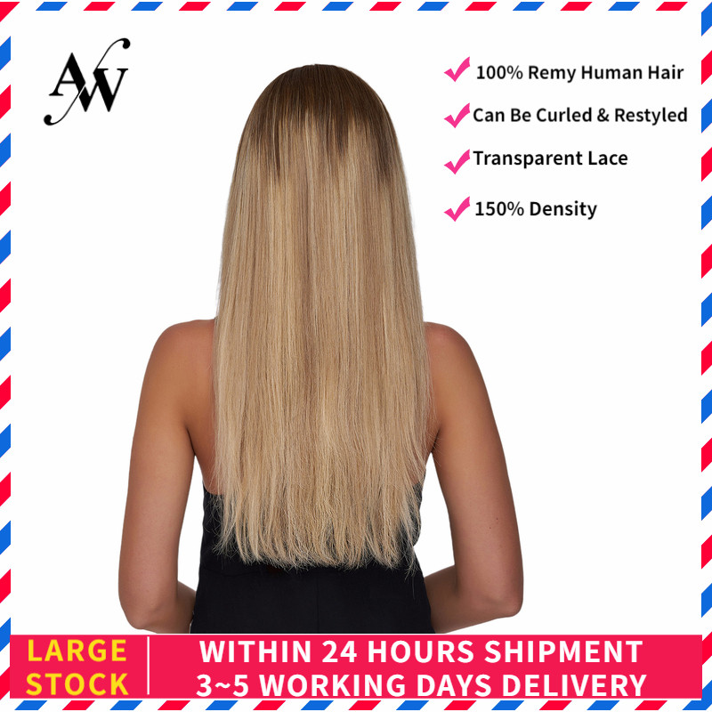 AW 20'' HD Transparent Half Lace Wigs Straight Pre Plucked Hairline Remy Human Hair Wig For Women 150% Density Ombre Blonde