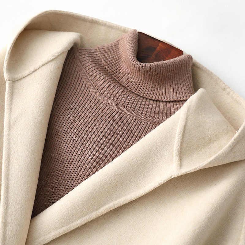 Casaco de lã de inverno das mulheres roupas outono 2020 coreano elegante senhoras casaco de lã feminino vintage longo jaqueta cinto casaco 2105