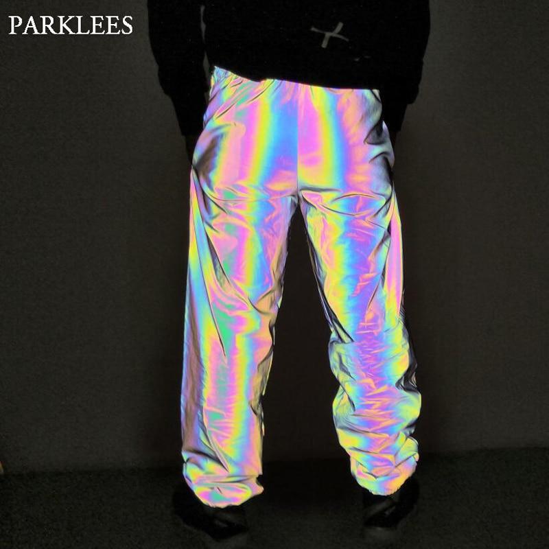 Rainbow Reflective Pants Men Brand Hip Hop Dance Fluorescent Trousers Casual Harajuku Night Sporting Jogger Pants Gray