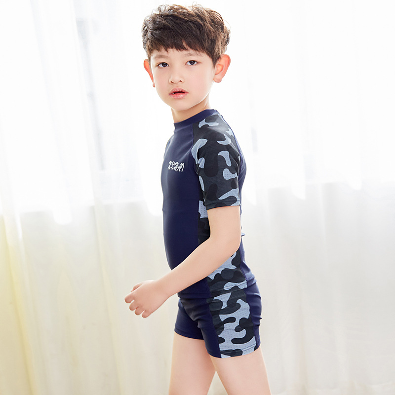 CHILDREN'S Swimsuit Set BOY'S Teenager Boys' Swimming Trunks Students Big Boy Split Type Hot Springs Sun-resistant Swimming Quic
