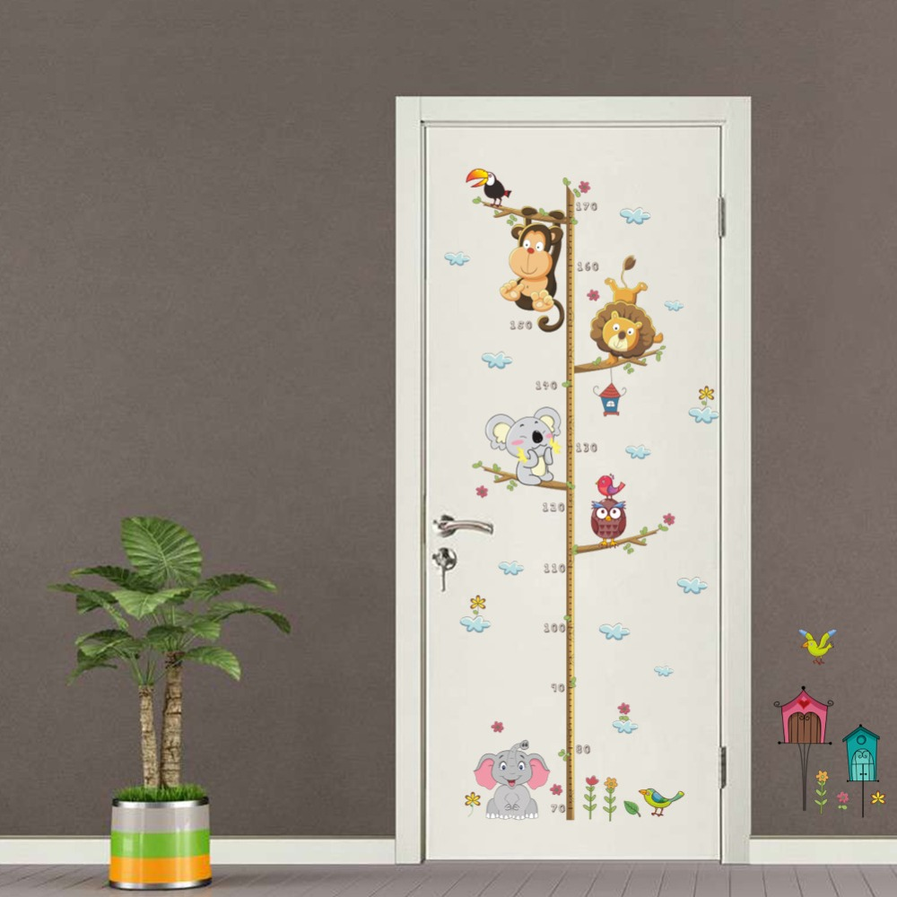 Monkey Elepahnt Kid Growth Chart Mural For Children Room Nursery Cartoon Self Adhesive Door Height Measure Stickers Baby Decor