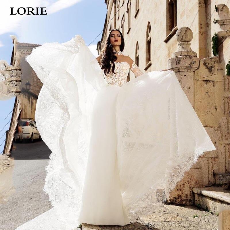 LORIE Boho Lace Wedding Dress Long Sleeve Bride Dresses High Neck Vestidos De Novia With Detachable Train Beach Bridal Gowns