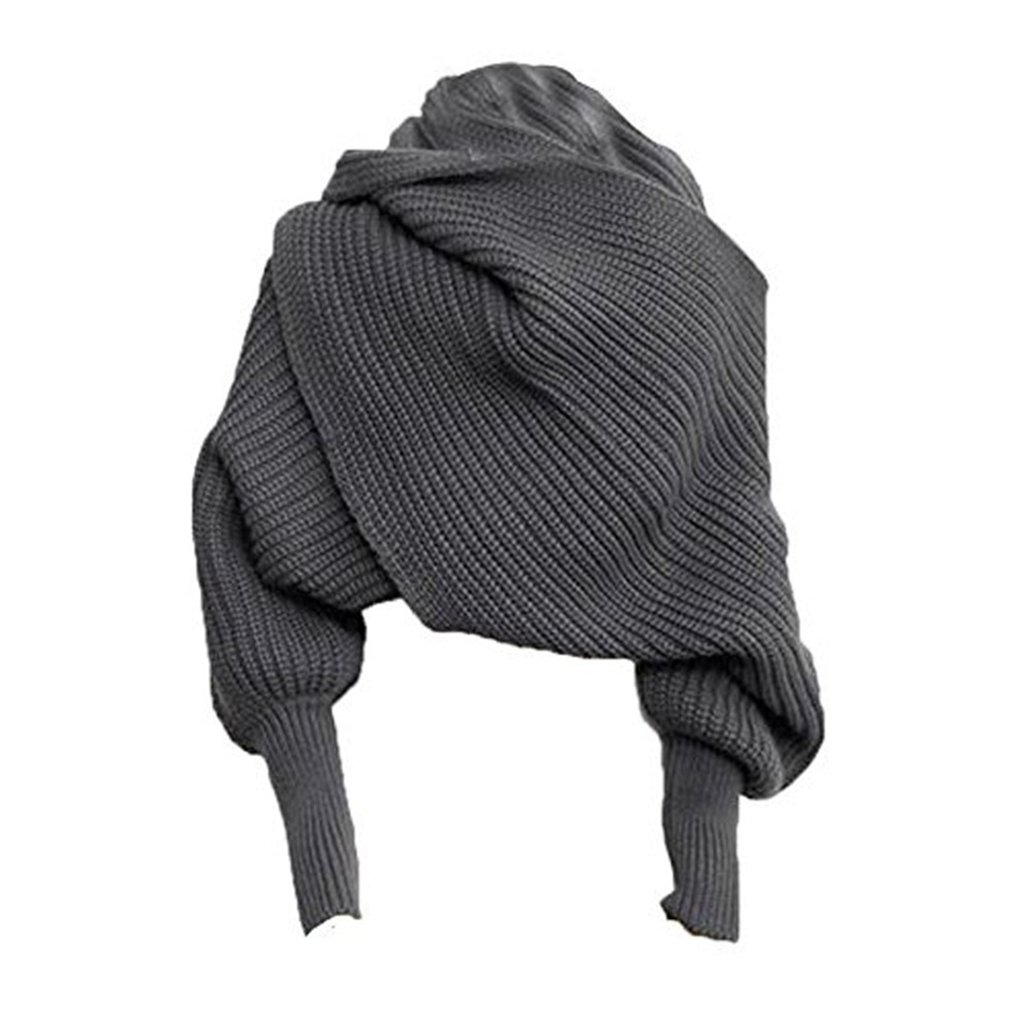 Keeping Warm Knit Wool Long Sleeve Wrap Solid Color Shawl Wrap Printe Solid Color Shawls Scarves Women Plain Women Scarf Winter