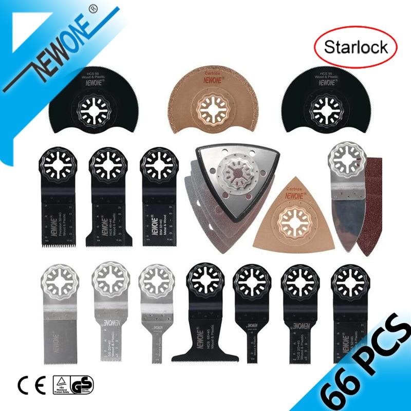 NEWONE 66 Pcs Starlock E-cut Multitool Cutter Saw Blade Set Oscillating Tool Saw Blades For Cutting Wood Drywall Plastics Metal