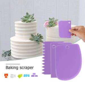 3Pc Baking Pastry Tools Plastic Dough Knife Icing Fondant Scraper Decorating Plain Smooth Jagged Edge Spatulas Cutters Cake Tool(China)