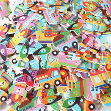 50Pcs/Lot Mixed Vehicle 2 Holes Wooden Buttons Scrapbooking Crafts DIY Kids Clothing Accessories Sewing Button Decoration multicolor 50pcs 2 holes mixed animal wooden decorative buttons fit sewing scrapbooking crafts