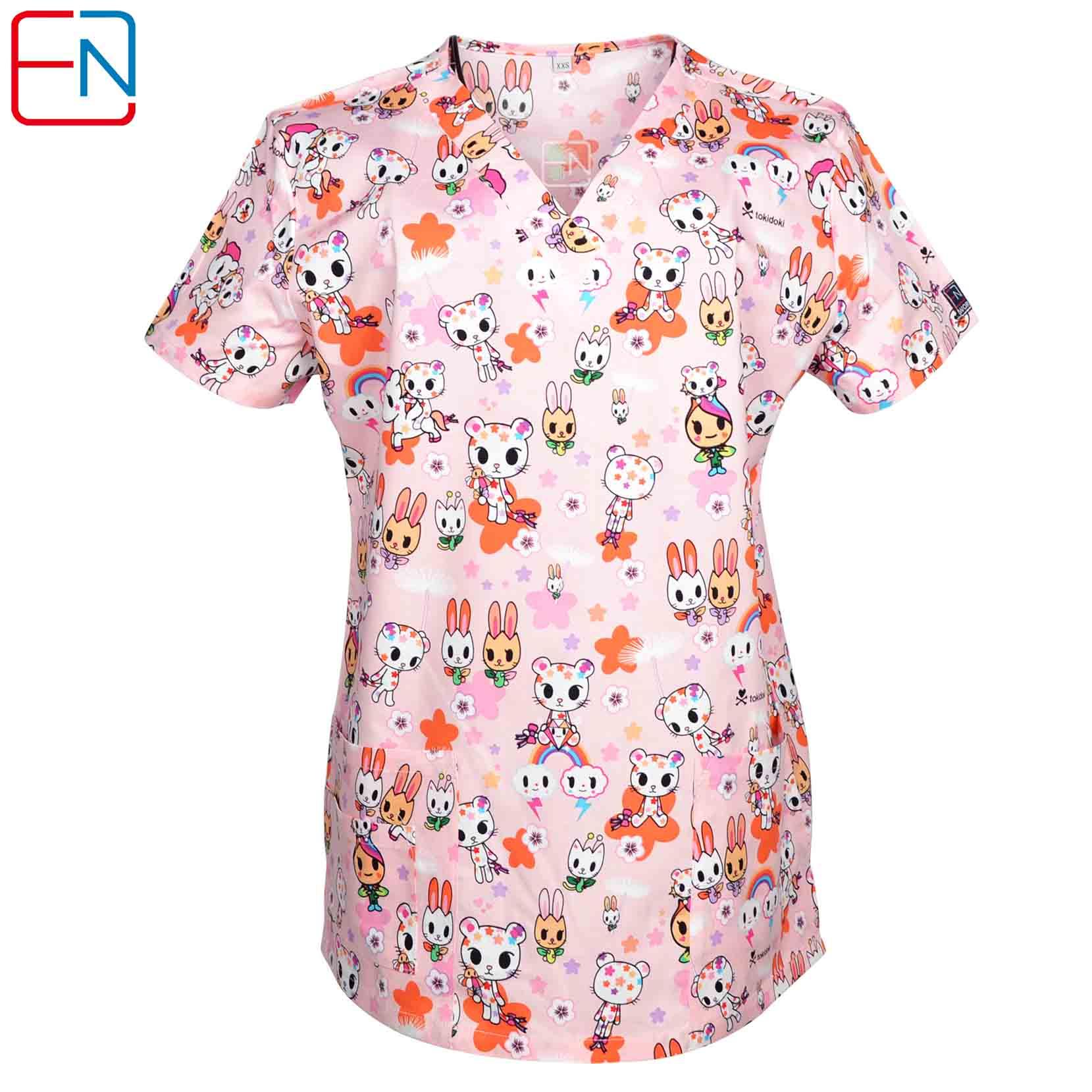 NEW Hennar Women Scrub Top With V-Neck 100% Cotton Print Surgical Medical Uniforms Hospital Nurse Scrub Tops For Women