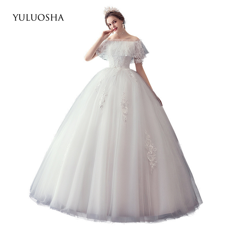 YULUOSHA New Lace Wedding Dress Boat Neck Backless Lace Up Appliques Long Burgundy Dress for Wedding Bridal Gown Robe De Mariee
