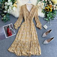 Maxi Long Dress for Women Autumn 2019 New High Waist Long Sleeve Over The Knee Casual Dress Fairy Mixed Chiffon Dress Female