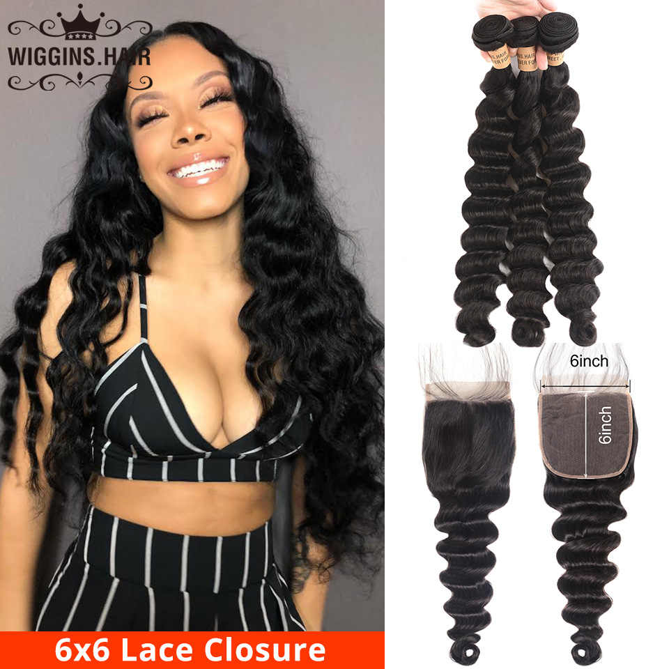 Loose Deep Wave Bundles With 6x6 Closure Swiss Lace Wiggins Peruvian Human Hair 3 Bundles With Closure Remy Hair Extension