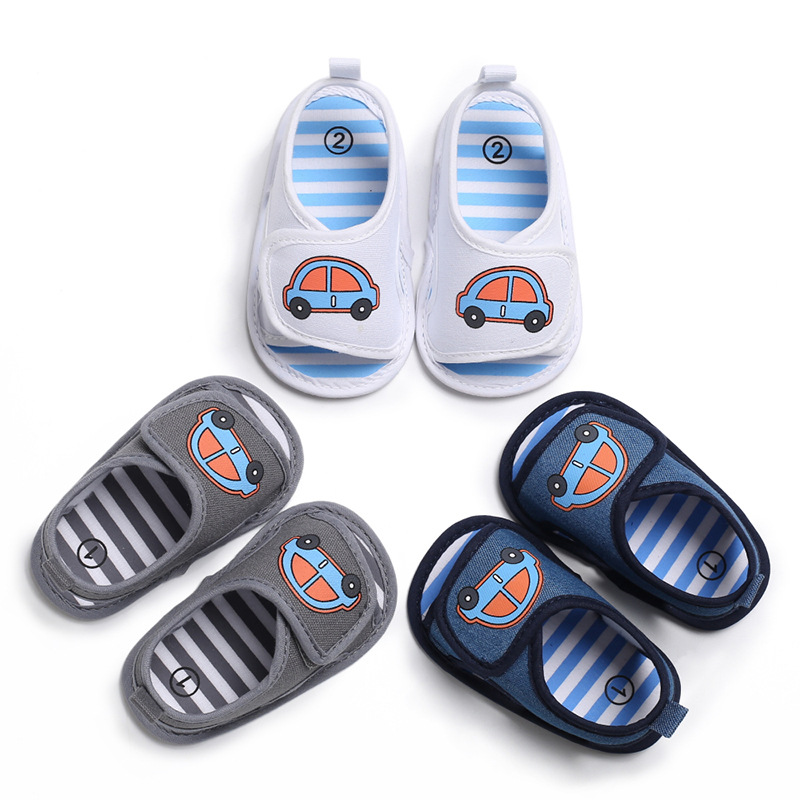 Silicone Car Children Shoes Summer Canvas Unisex Low Tube Toddler Shoes Baby Sandals Newborn Boy For 1-4 Years Old