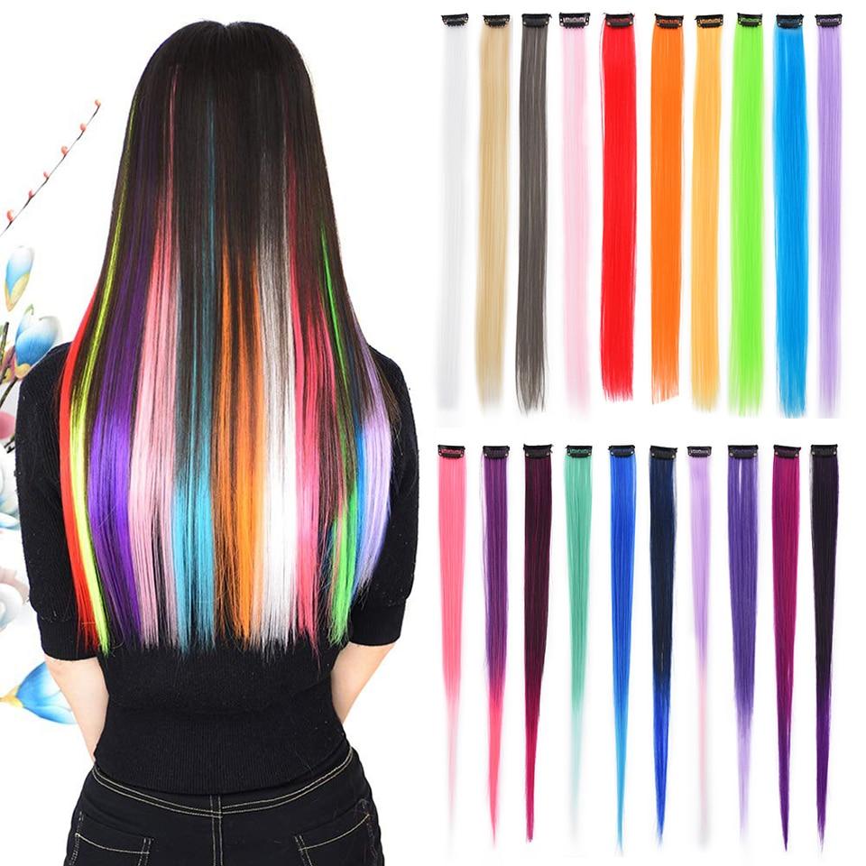 Цветной зажим In One Piece СИНТЕТИЧЕСКОЕ Наращивание волос Омбре хайлайтер наращивание волос Длинные прямые искусственные волосы Reshowbeauty