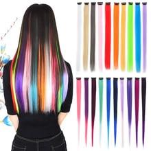 Grampo colorido em uma parte extensão do cabelo sintético ombre destaque extensões de cabelo longo em linha reta falso cabelo reshowbeauty