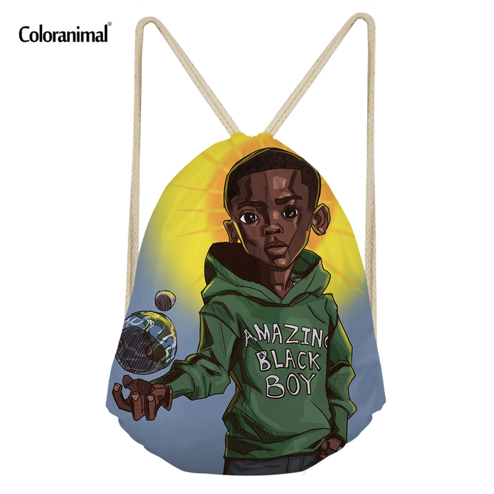 Coloranimal Afro Boys Print Drawstring Bag Africa Brown Black Boys Storage Bag Teenager Soft Backpack Kids Bookbag Gifts Mochila