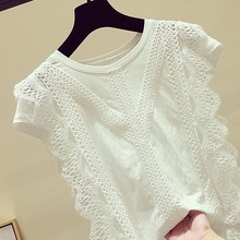2020 Summer New Fashion Women Short Sleeve O-Neck Lace Hollow Out Solid Blouses