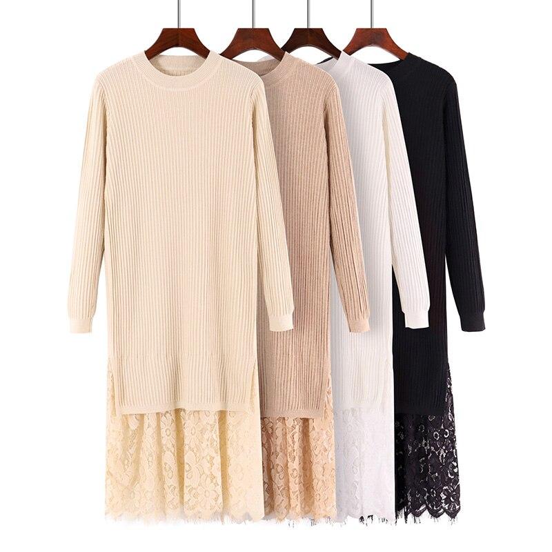 Femmes à manches longues dentelle ourlet pull Robe décontracté droite solide automne hiver Robe Femme Midi tricoté robes Robe Femme