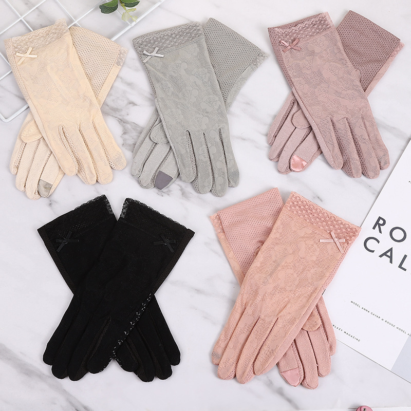 Women's Summer Gloves Touch Screen Lace Glove Non-slip Sun Protection Short Thin Glove Fashion Sunscreen Driving Gloves