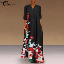 Sundress Lantern Sleeve Celmia Long-Vestidos Bohemian Femme Party-Robe V-Neck Floral-Printed