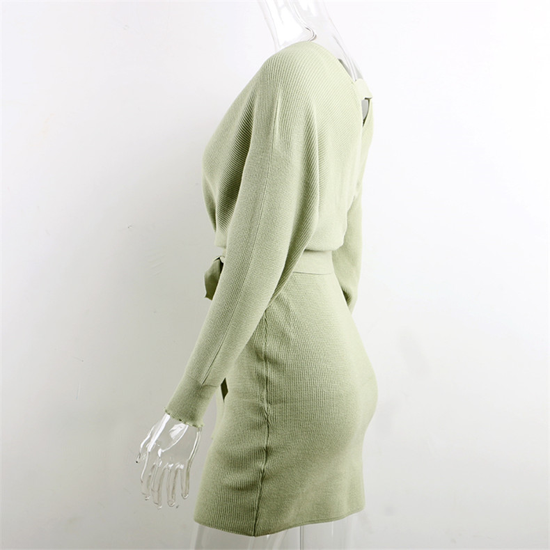 Long Sleeve Sashes Tied Knitted Wrap Sweater Dress 13