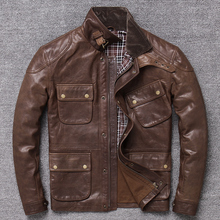 Gratis shipping.2019 nieuwe Batik Boom Plakken Sheepsking uitloper, mannen vintage slanke lederen jas. classic M65 jacht jas