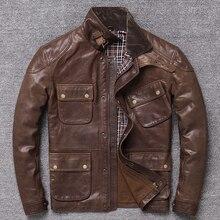 Livraison gratuite. 2019 nouveau Batik arbre pâte vêtements de mouton, hommes vintage mince veste en cuir véritable. Classique M65 manteau de chasse