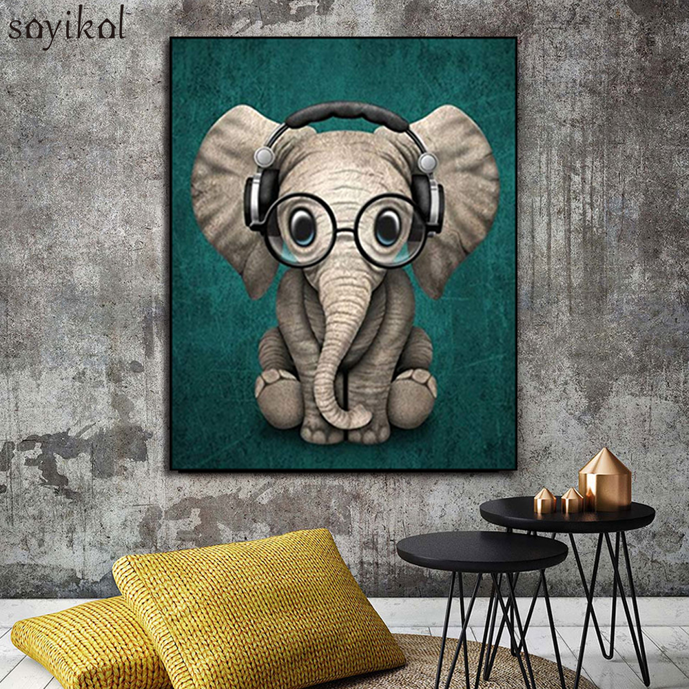 Drawing By Number Animal Cute Elephant Wear Glasses Hanging Picture Wall Art Oil Painting By Numbers DIY Hand Painted Kids Gift