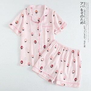 Image 2 - נשים 100% כותנה קצר שרוולי גבירותיי פיג מות סטי מכנסיים קצרים חמוד קריקטורה הלבשת יפני פשוט קצר פיג נשים Homewear