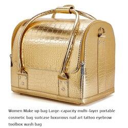Bolsa de maquillaje para mujer, bolsa de cosméticos portátil de gran capacidad y varias capas, Maleta de lujo con caja de herramientas para tatuar uñas y cejas