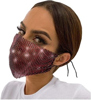 Crystal Masquerade Mask Women Party Diamante Accessories Jewelry Metal Fishing Net Rhinestone Sequined Face Mask
