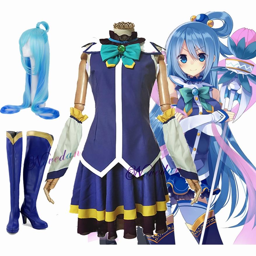 Aqua Konosuba Cosplay Anime Konosuba God's Blessing on this Wonderful World Aqua Cosplay Costumes Wig Shoes Dress For Women