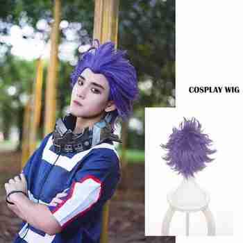 Boku No Hero Academia Shinsou Hitoshi Shinso peruka przebranie na karnawał My Hero Academia krótkie fioletowe peruki syntetyczne włosy + czapka z peruką mężczyźni
