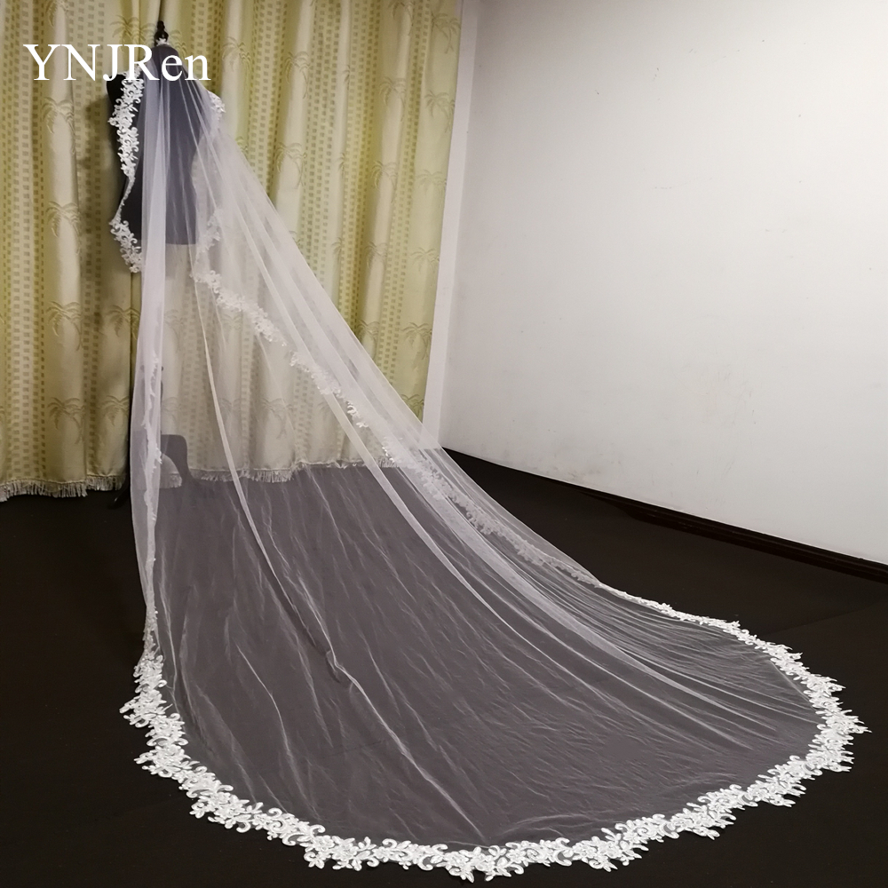 2020 Real Photo 3 Meters Bridal Veil Full Decal Applique Edge Cathedral Wedding Veil Bridal Veil white ivory Veil with comb