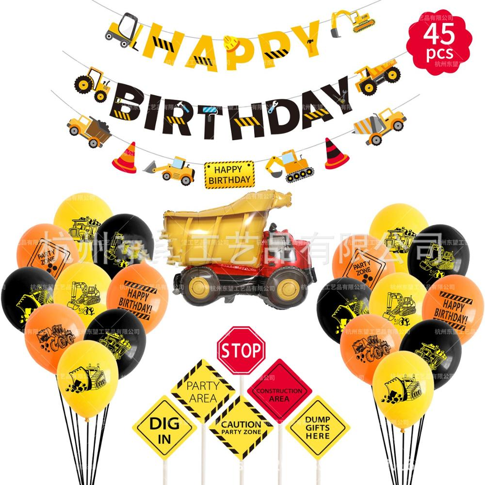 Shop Truck Theme Baby Party Decorations Set Newborn Baby Boys Girls Birthday Party Baby Shower Party Children's Day