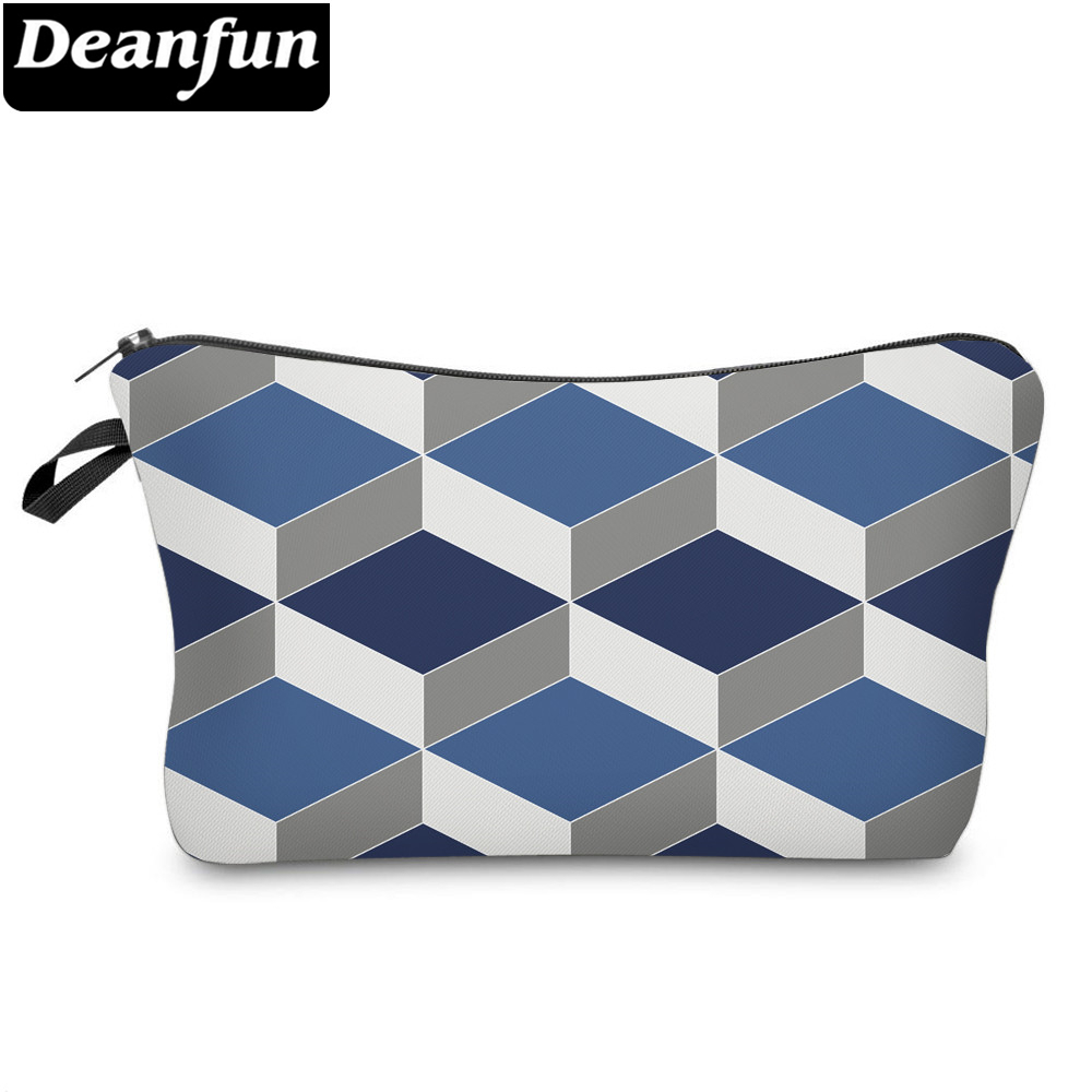 Deanfun Small Cosmetic Bags 3D Printed Blue Striped Bags Zipper Womens Elegant Purse Organizer Pouches Bag 51960