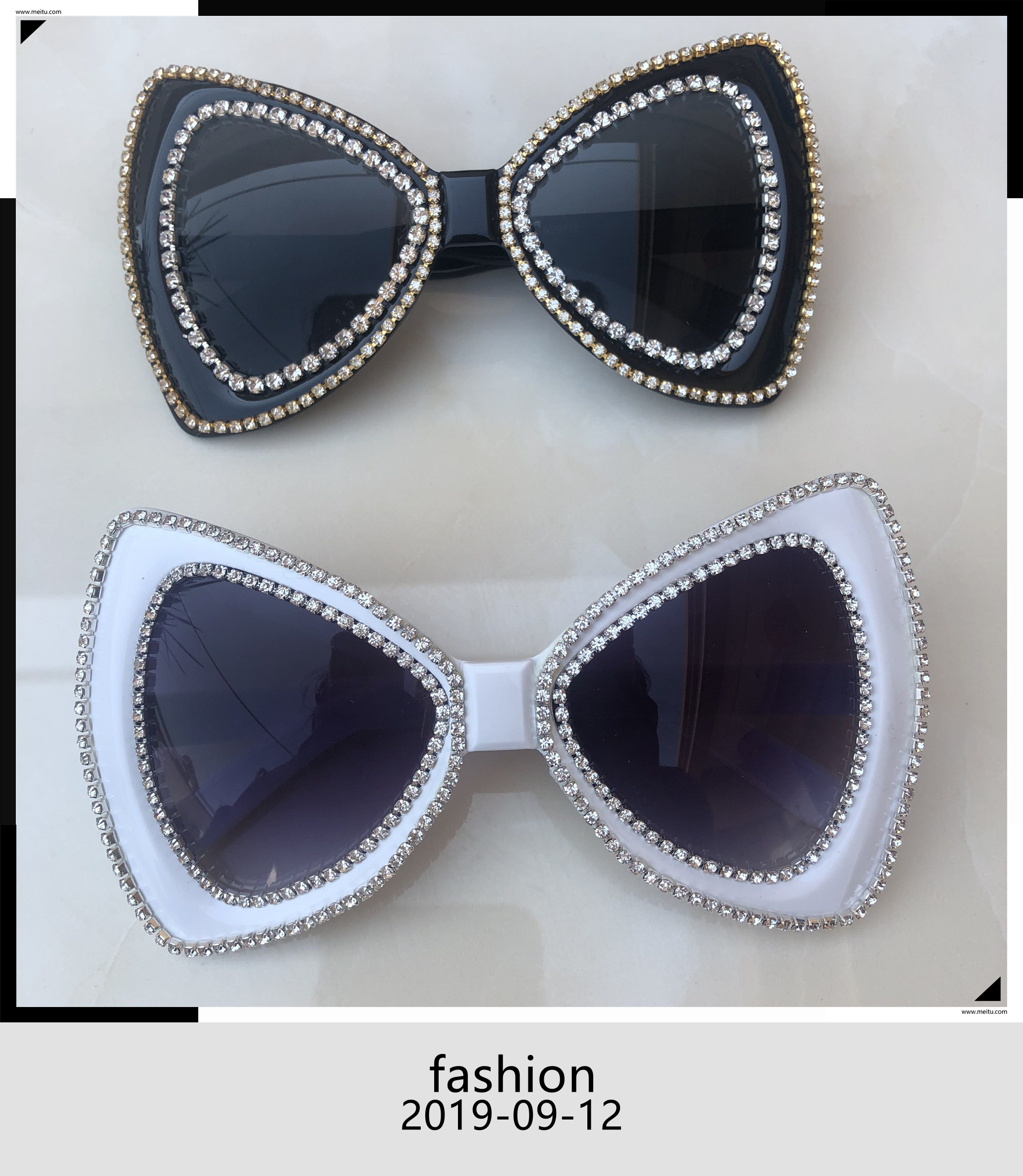 Oversized Sunglasses Women Luxury Gold Diamond Butterfly Sunglasses For Ladies Big White And Black Frame Shades Oculos