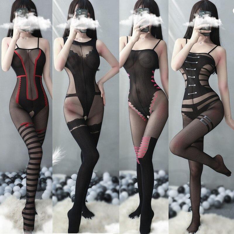 Сексуальное женское белье, черные сексуальные латексные женские эротические костюмы, открытая промежность, чулки, колготки, прозрачное бел...