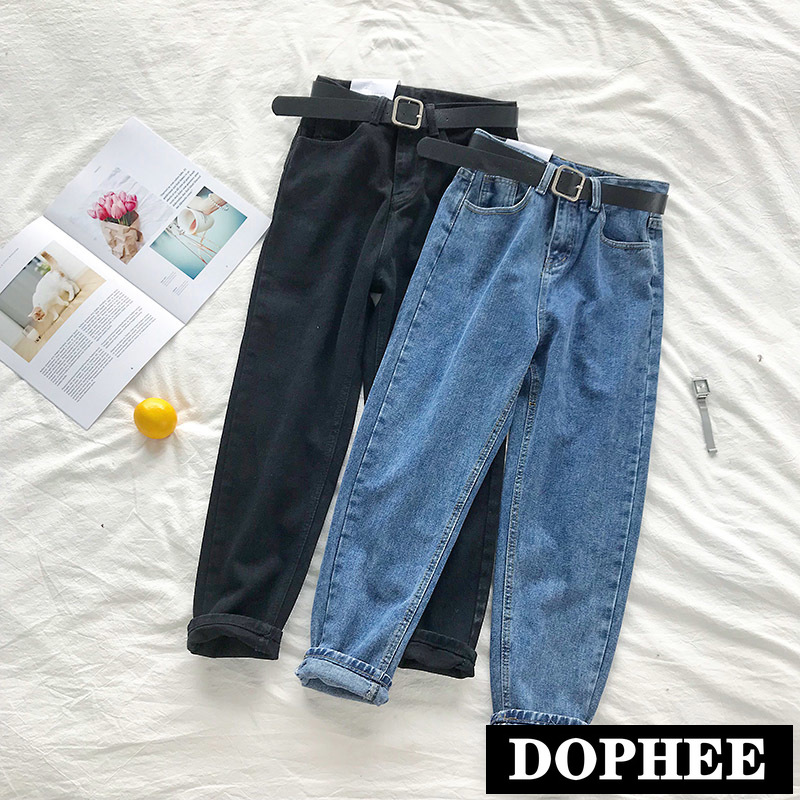 New Spring and Autumn Women Bf High Waist Jeans Student Casual Harem Pants Long Trousers with Belt Slim Denim Pants