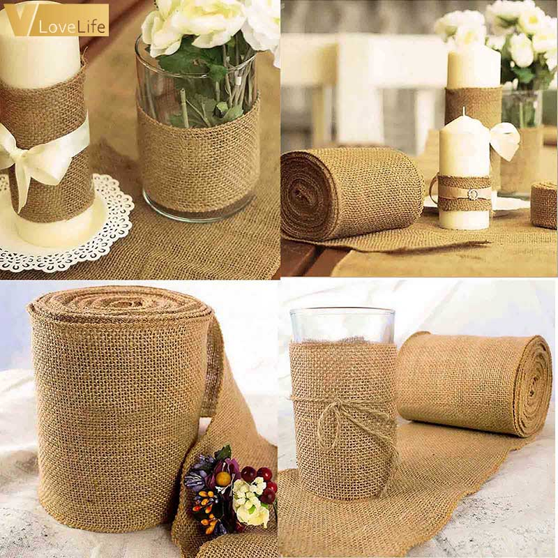 10 Meter 5/10/15/30cm Ribbon Linen Roll Burlap Table Runners DIY Chair Bands Vintage Natural Jute Hessian Wedding Party Home