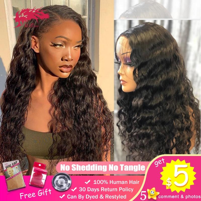 Natural Wave 4x4 13x4 Lace Frontal Closure Wigs For Black Woman Brazilian Virgin Human Hair 250% 180% Density Custom DIY Wig