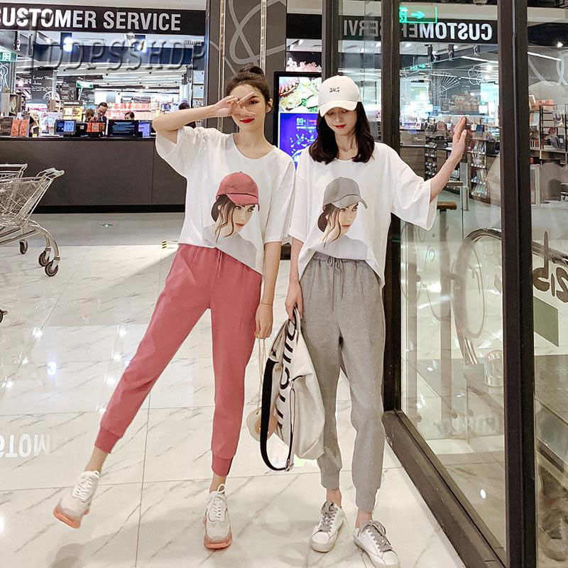 2019 Casual Lady Print T Shirt And Solid Color Pants Women Sets Korean Female Sets