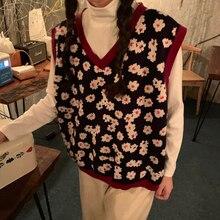 2019 jesienią i zimą koreański styl v neck z dzianiny w kwiaty kamizelka bez rękawów swetry damskie swetry damskie (C8574)